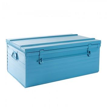 Malle cantine métallique 107 litres bleu
