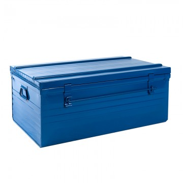 Malle cantine métallique 82 litres bleu