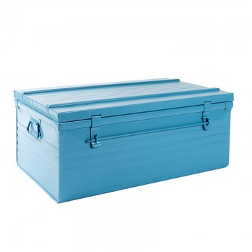Malle cantine métallique 61 litres bleu